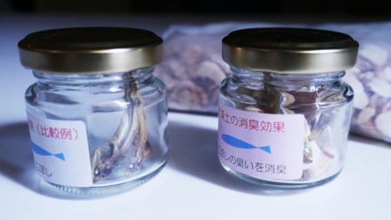 右の瓶の中には珪藻土が入っています