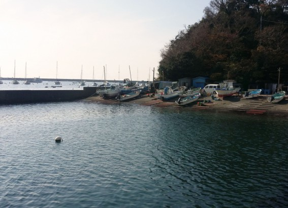 佐島漁港にて